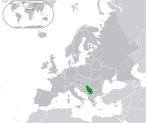 Serbia on map