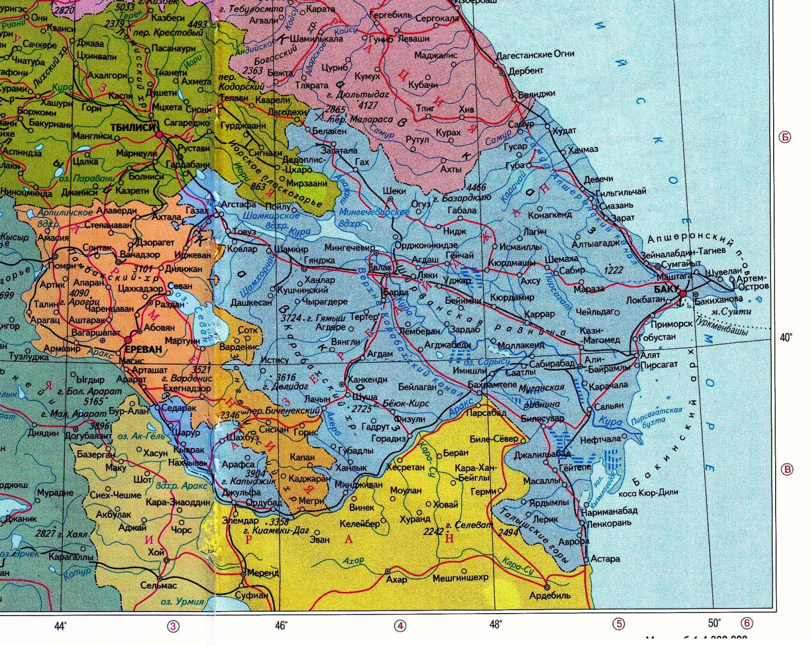 GEO. Азербайджан. Столица, площадь, население, города ... Каспийское Море Карта